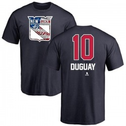 Men's Ron Duguay New York Rangers Name and Number Banner Wave T-Shirt - Navy