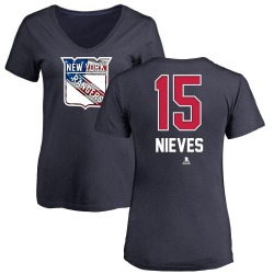 Women's Boo Nieves New York Rangers Name and Number Banner Wave V-Neck T-Shirt - Navy